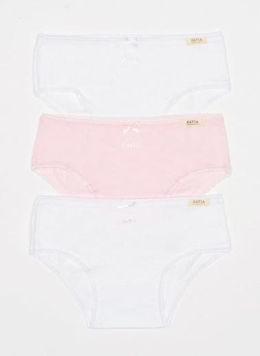 Katia & Bony Love 3'Lü Basic Kız Çocuk Slip  Beyaz